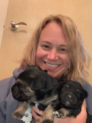 Laurie with Puppies